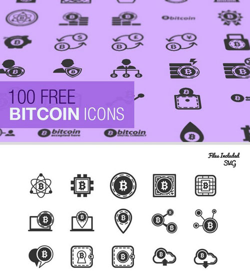 The Bitcoin Icon Set (100 Icons, SVG & JPG)