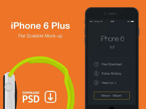 iPhone 6 Plus Free Psd Flat Mockup Template