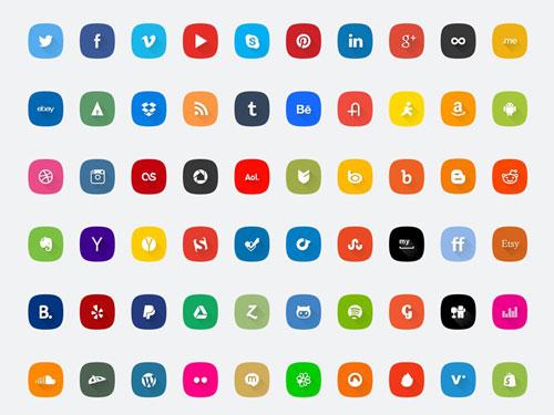 60 Social Media Icons Set