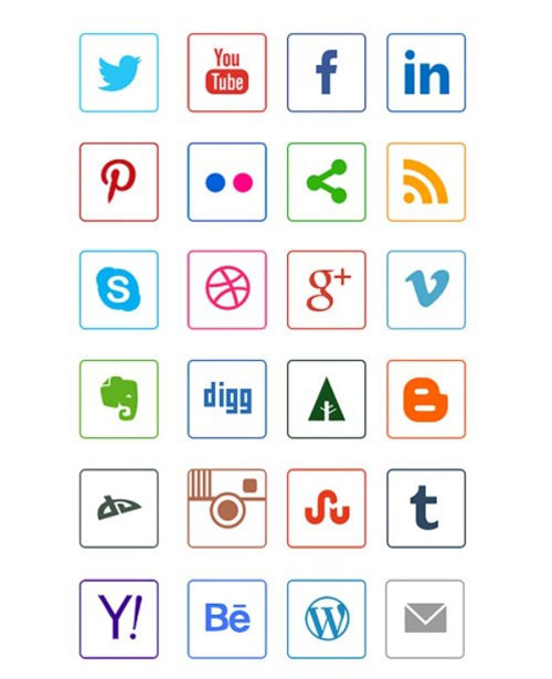 24 Social Media Line Icons