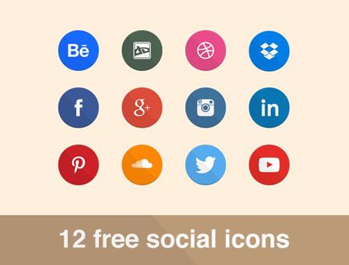 12 Free Flat Social Icons