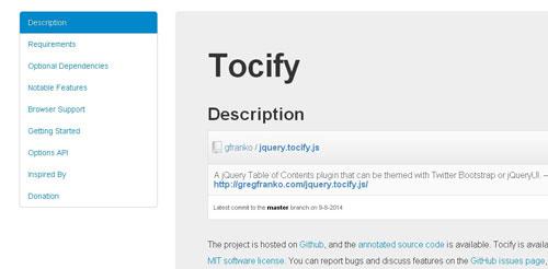 Jquery Tocify.js