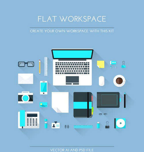 Designer Flat Workspace Elements