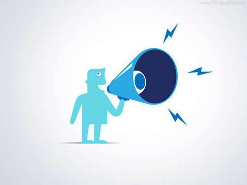 Shouting With Megaphone Illustration PSD
