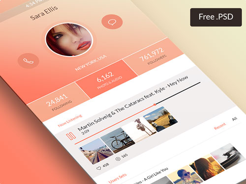 Profile Screen App PSD
