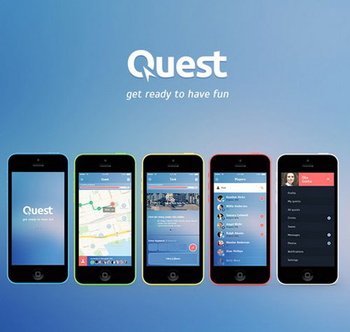 Quest Free iOS7 App PSD