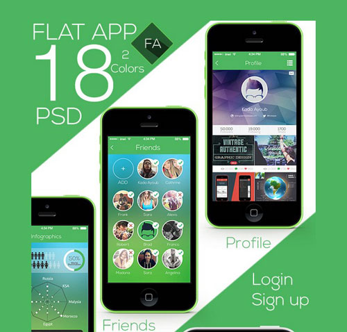 Flat App Ui Full Project Free PSD File