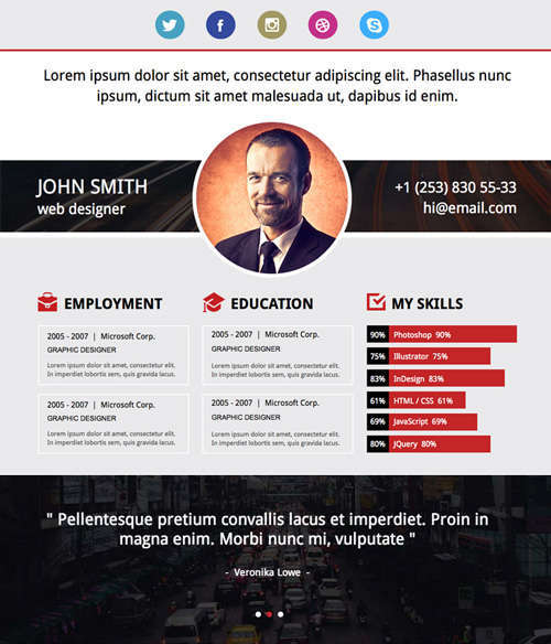 Adobe Muse Resume Template