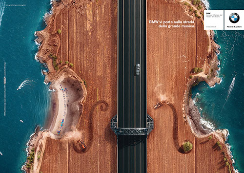 amazing bmw ads showing aerial view of roads. Black Bedroom Furniture Sets. Home Design Ideas